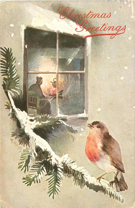 inset robin on snowy evergreen looking in at lady sitting next to  kettle above fire