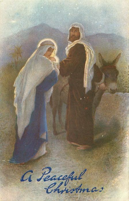 Mary and Joseph walking away through night with Jesus, donkey right