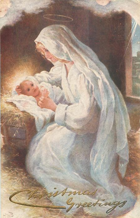 Madonna and Child in white, in stable