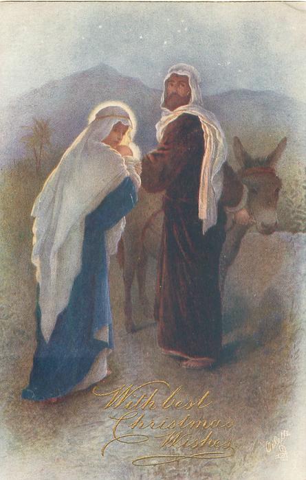 Madonna and Child walk towards Joseph who is holding donkey