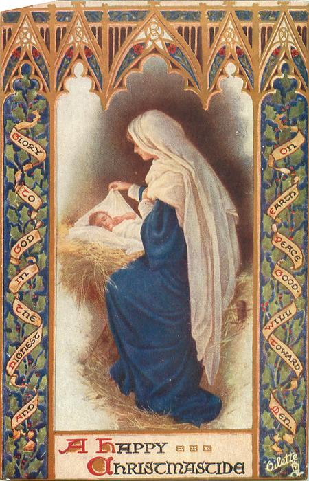 A HAPPY CHRISTMASTIDE, Madonna and Child in stable