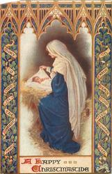A HAPPY CHRISTMASTIDE  Madonna and Child in stable