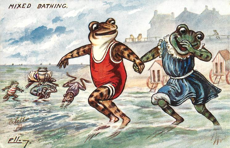 two frogs holding hands frolic in surf