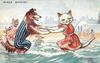 cat and dog holding paws, standing in sea