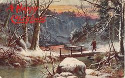 man with cane comes to bridge over stream in snowy woods