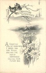 CHRISTMAS GREETINGS (daisies in foreground, distant cottage)