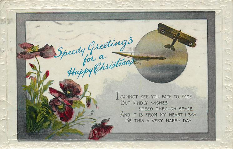 SPEEDY GREETINGS FOR A HAPPY CHRISTMAS  (two aeroplanes over circular inset)