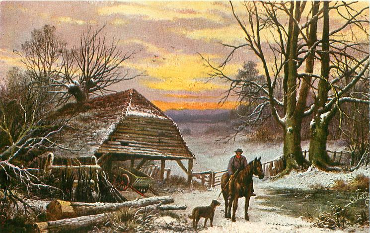 man on horse with dog, cart in shed to left