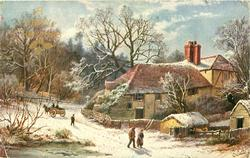 A HAPPY CHRISTMAS  man & woman walking right, horse drawn going left behind, farmhouses right