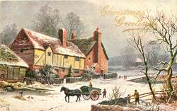 CHRISTMAS GREETINGS  man in horse & cart going left, man behind, houses left