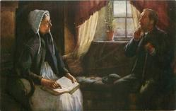 elderly woman with Bible on lap talks to man seated right of window