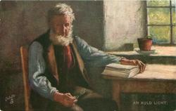 AN AULD LICHT elderly man sits at table with eyes closed, left hand on book, right holds glasses