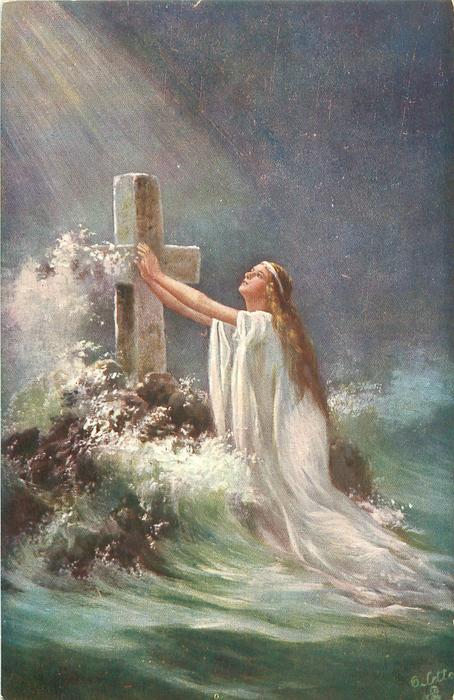 woman kneeling in sea before cross, light beaming down from above left