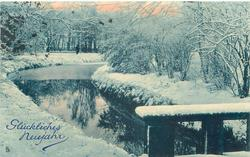 winter snow on either side of stream, prominent reflections in water