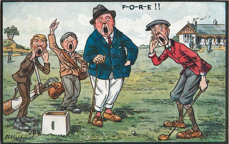 F-O-R-E!!  golfer in blue jacket, golfer in red jacket, two caddies all shouting