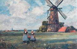 two girls walk in field, carrying pail between them, windmill behind