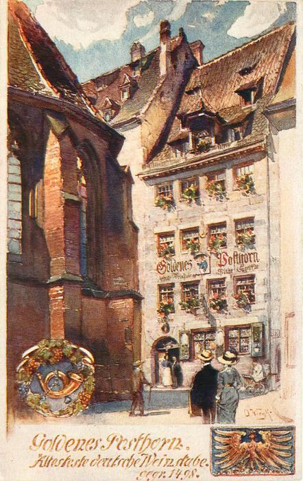 """GOLDENES POSTHORN """"ALTESTE DEUTSCHE WEINSTUBE. GE. GR.1498"""