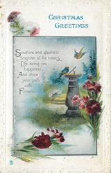CHRISTMAS GREETINGS  (bluebirds and sun-dial)