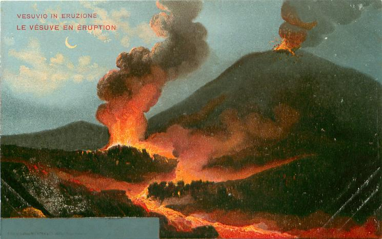eruption high right, another larger centre left with lava flowing front
