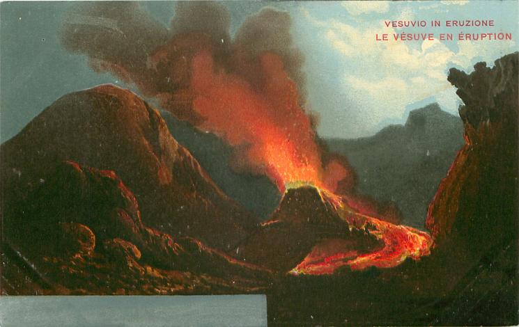 eruption low centre/right, lava flows right-front