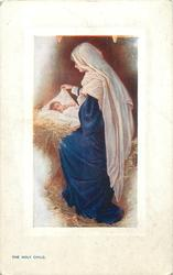 THE HOLY CHILD  Madonna with Holy Child in swaddling clothes on straw