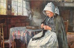 ANNE HATHAWAY'S COTTAGE (old woman knitting in front of table)