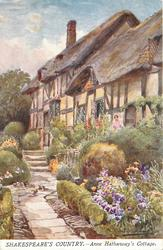 ANNE HATHAWAY'S COTTAGE (outside view of home, flower garden and stone path)