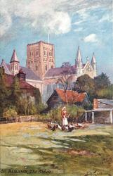 THE ABBEY (woman with chickens in foreground)