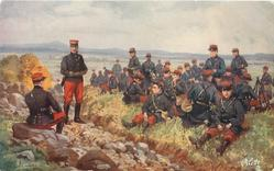 THE INFANTRY  many soldiers sitting at rest grass right of ditch, officer sitting on rock left  and sergeant stands