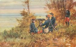 THE INFANTRY  three soldiers round machine gun, one soldier standing