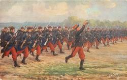 THE INFANTRY   soldiers advancing in formation across field led by sergeant with sword raised
