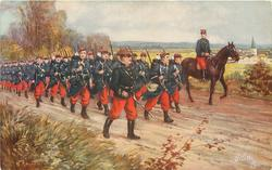 THE INFANTRY  column of infantry march right, officer is mounted