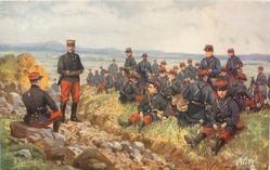 L'INFANTERIE, many soldiers sitting on grass right of ditch, officer sitting on rock left of ditch and sergeant in ditch
