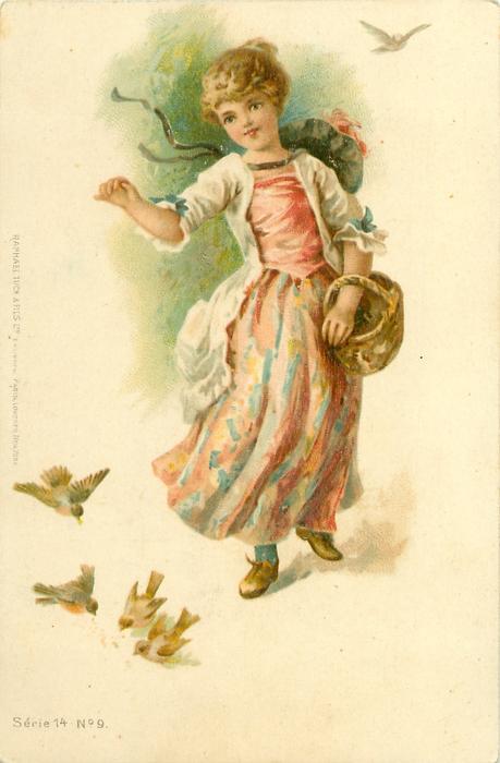 girl in pink & blue dress walks front feeding birds, basket on her left arm