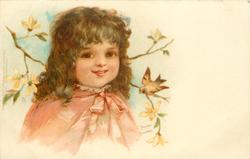 girl in red cape faces slightly right, looks front, yellow blossom behind, bird on twig at right