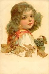 girl in white dress, faces right, looks front, vine leaves & grapes below