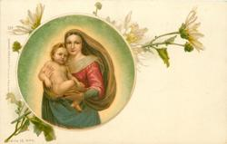 inset: Madonna stands carrying Child, white daisies