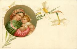 inset: Madonna left carries Child , right, narcissi