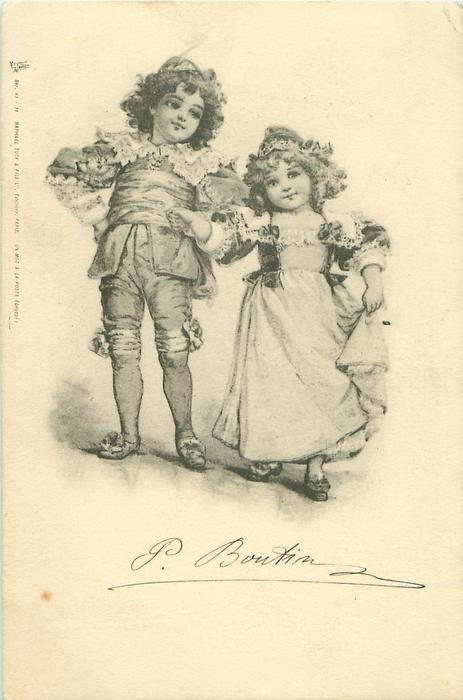 young boy & girl hold hands standing facing front she lifts skirt with her left hand