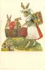 rabbit nurse-maid pushes pram of rabbits & pink egg, crate of easter eggs on her back