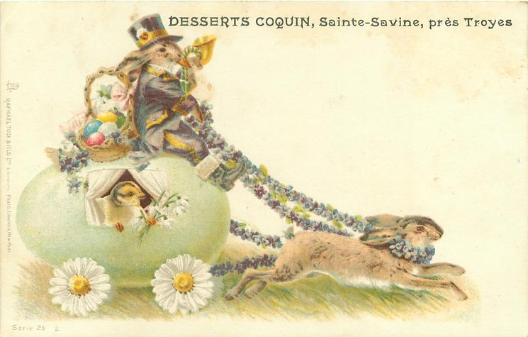 enormous green Easter egg carriage carrying chick pulled right by rabbit, rabbit coachman, floral reins