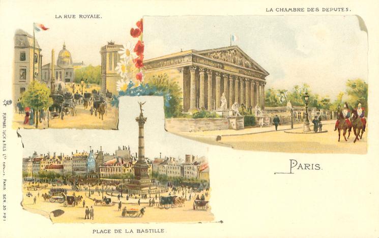 three insets LA RUE ROYALE/LA CHAMBRE DES DEPUTES/PLACE DE LA BASTILLE