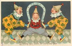 WISHING YOU LUCK FOR THE NEW YEAR  three clowns dance with horseshoe