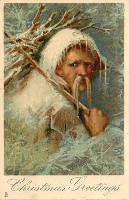 CHRISTMAS GREETINGS  snow covered Santa, walrus moustache, faces right, looks front