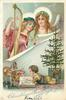 CHRISTMAS GREETINGS  angel playing harp, another holds music, boy reads book on floor below, toys & tree