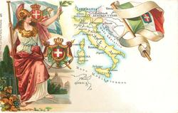 map, flag, crest & woman of Italy