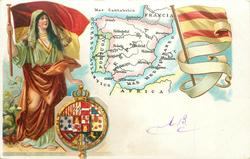 map, flag, crest & woman of Spain