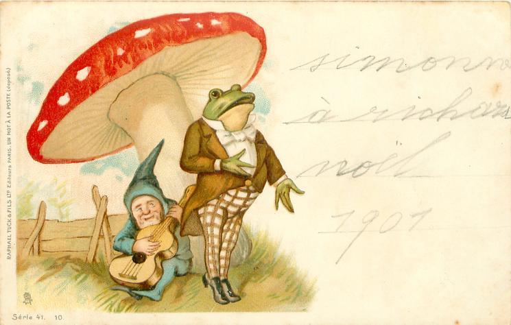 dwarf plays instrument for singing frog under toadstool