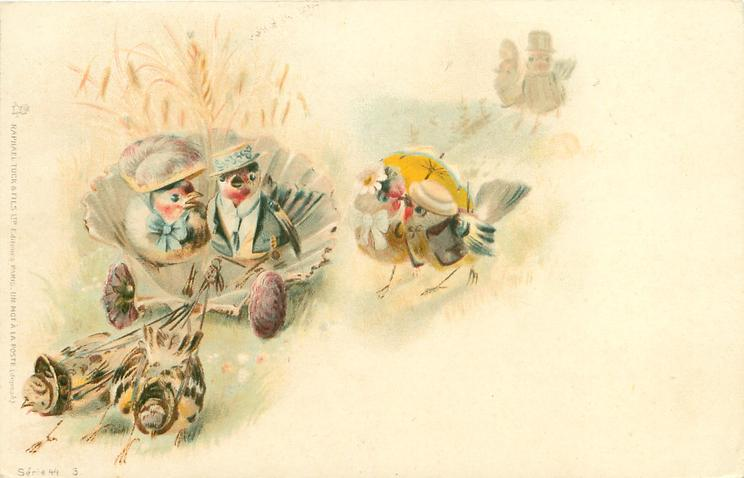 two birds in fantasy shell carriage are pulled by two others,a couple walk under parasol to their right