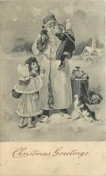 CHRISTMAS GREETINGS  Santa in white robe, , three children, toys & dog in a snowy field